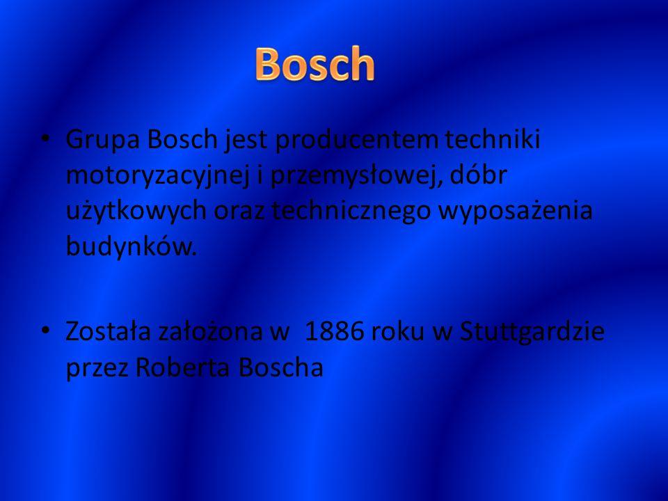 Grupa Bosch jest producentem techniki motoryzacyjnej i przemysłowej, dóbr użytkowych oraz technicznego wyposażenia budynków. Została założona w 1886 r