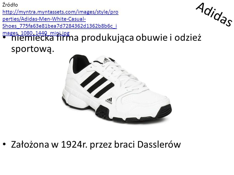 Adidas niemiecka firma produkująca obuwie i odzież sportową. Założona w 1924r. przez braci Dasslerów Źródło http://myntra.myntassets.com/images/style/