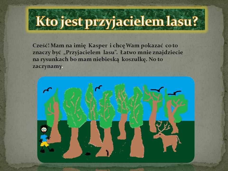 """Cześć! Mam na imię Kasper i chcę Wam pokazać co to znaczy być """"Przyjacielem lasu"""". Łatwo mnie znajdziecie na rysunkach bo mam niebieską koszulkę. No t"""