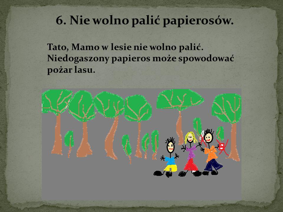 6. Nie wolno palić papierosów. Tato, Mamo w lesie nie wolno palić. Niedogaszony papieros może spowodować pożar lasu.