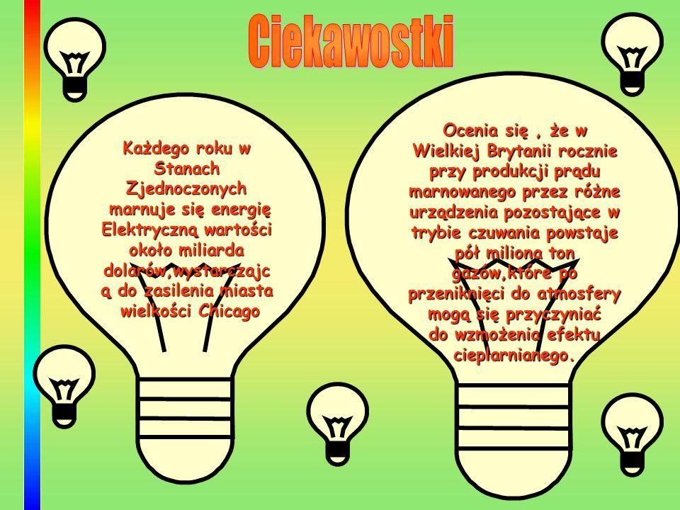 Każdego roku w Stanach Zjednoczonych marnuje się energię Elektryczną wartości około miliarda dolarów,wystarczajc ą do zasilenia miasta wielkości Chica