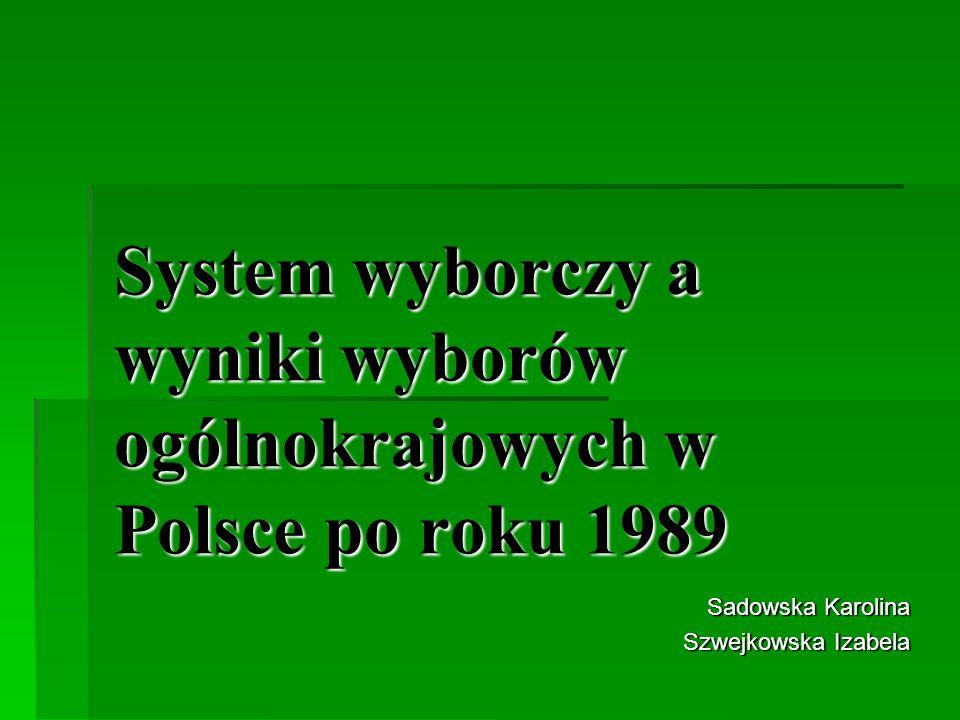 System wyborczy a wyniki wyborów ogólnokrajowych w Polsce po roku 1989 Sadowska Karolina Szwejkowska Izabela