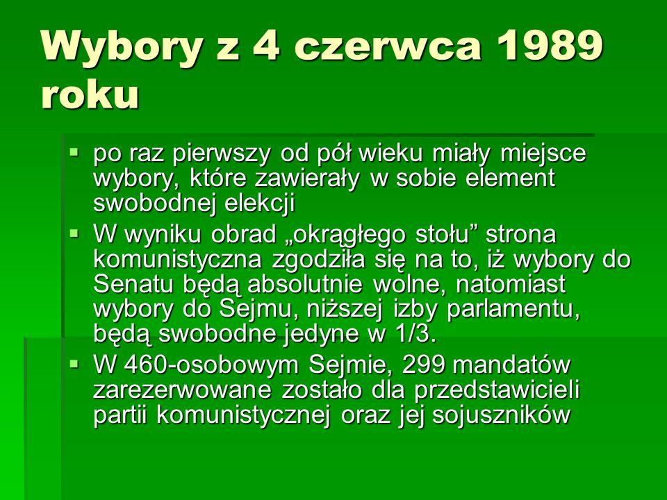 """Wybory z 4 czerwca 1989 roku  po raz pierwszy od pół wieku miały miejsce wybory, które zawierały w sobie element swobodnej elekcji  W wyniku obrad """""""