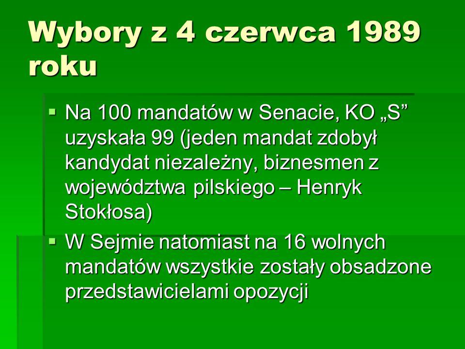 """Wybory z 4 czerwca 1989 roku  Na 100 mandatów w Senacie, KO """"S"""" uzyskała 99 (jeden mandat zdobył kandydat niezależny, biznesmen z województwa pilskie"""