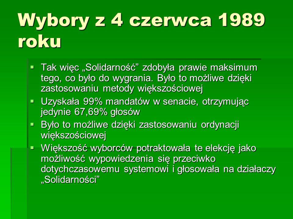 """Wybory z 4 czerwca 1989 roku  Tak więc """"Solidarność"""" zdobyła prawie maksimum tego, co było do wygrania. Było to możliwe dzięki zastosowaniu metody wi"""