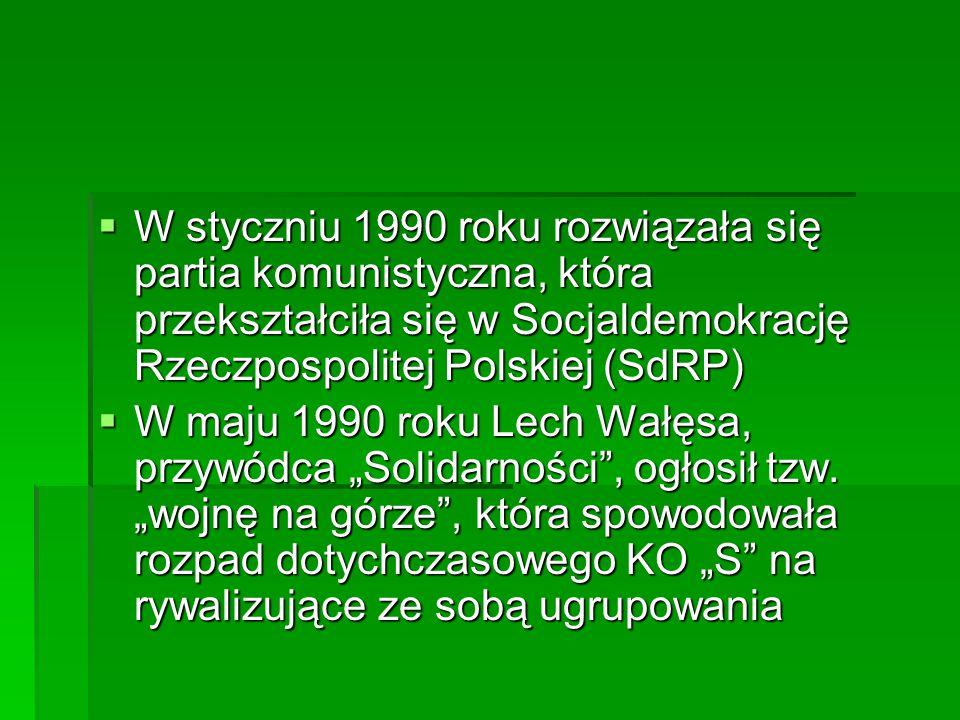  W styczniu 1990 roku rozwiązała się partia komunistyczna, która przekształciła się w Socjaldemokrację Rzeczpospolitej Polskiej (SdRP)  W maju 1990