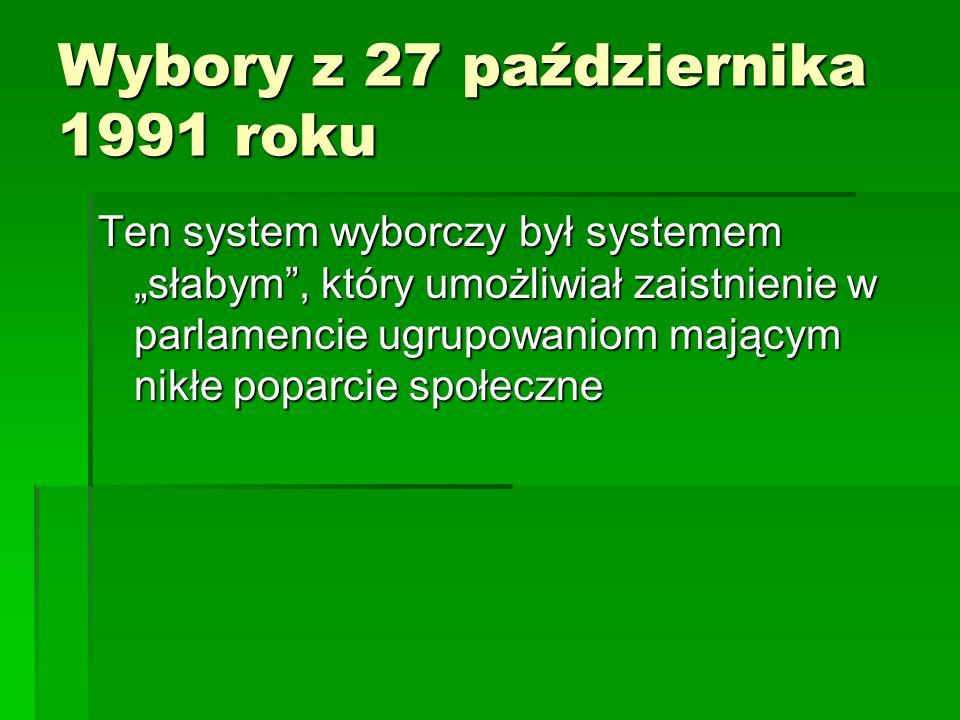 """Wybory z 27 października 1991 roku Ten system wyborczy był systemem """"słabym"""", który umożliwiał zaistnienie w parlamencie ugrupowaniom mającym nikłe po"""