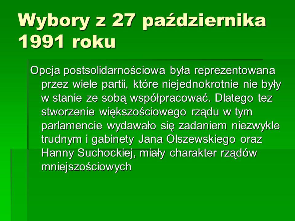 Wybory z 27 października 1991 roku Opcja postsolidarnościowa była reprezentowana przez wiele partii, które niejednokrotnie nie były w stanie ze sobą w