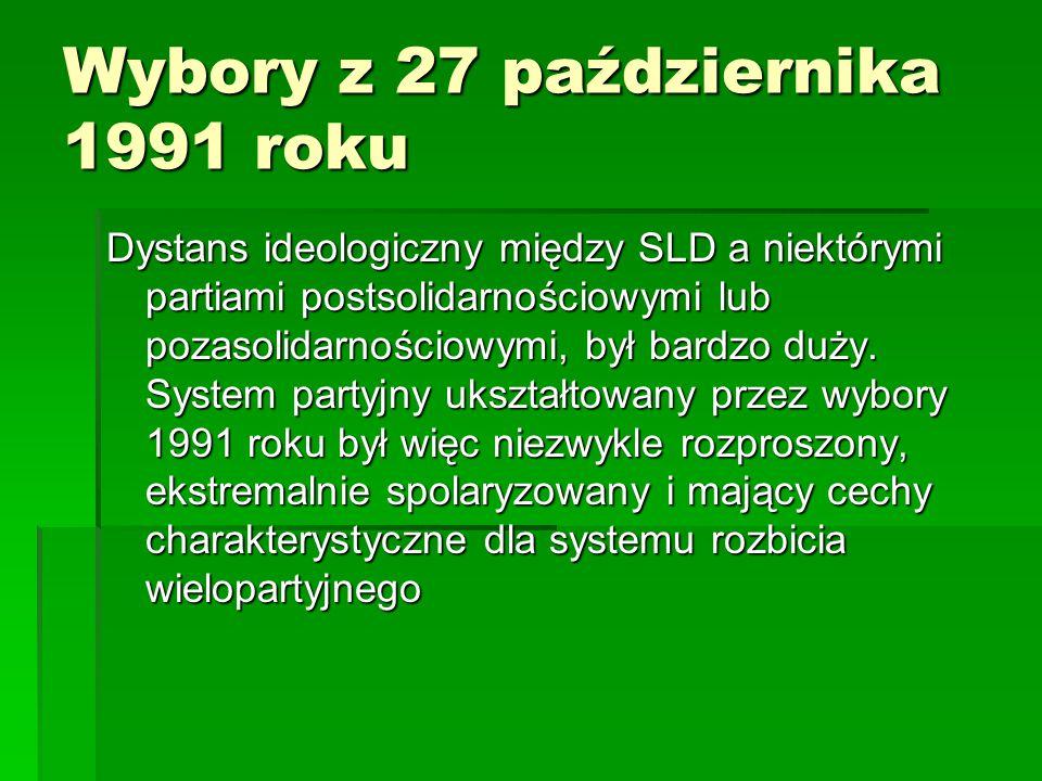 Wybory z 27 października 1991 roku Dystans ideologiczny między SLD a niektórymi partiami postsolidarnościowymi lub pozasolidarnościowymi, był bardzo d