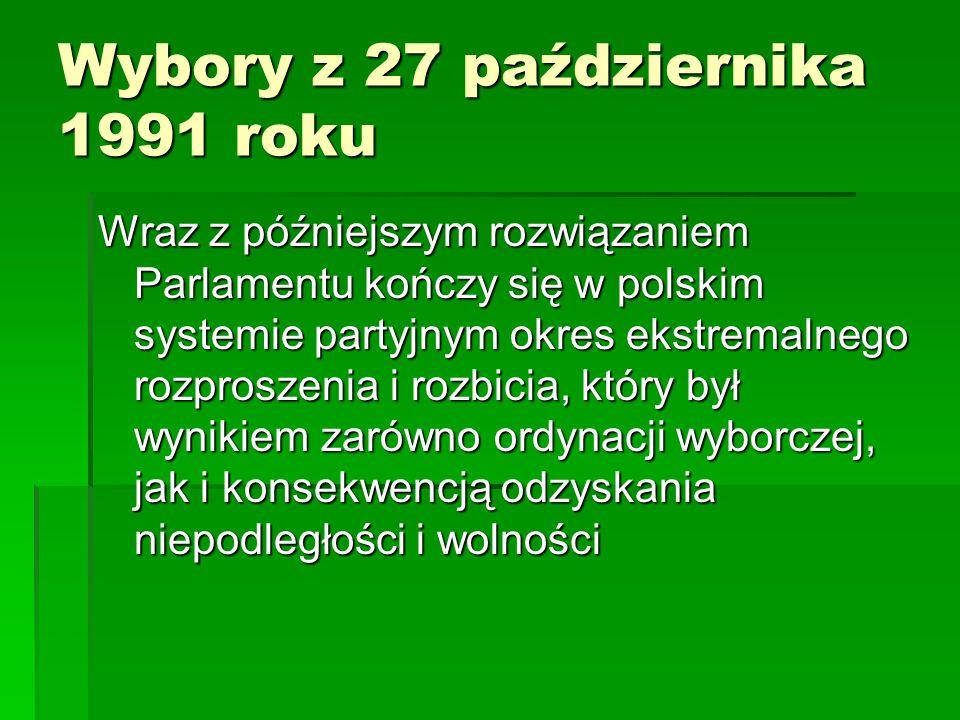 Wybory z 27 października 1991 roku Wraz z późniejszym rozwiązaniem Parlamentu kończy się w polskim systemie partyjnym okres ekstremalnego rozproszenia