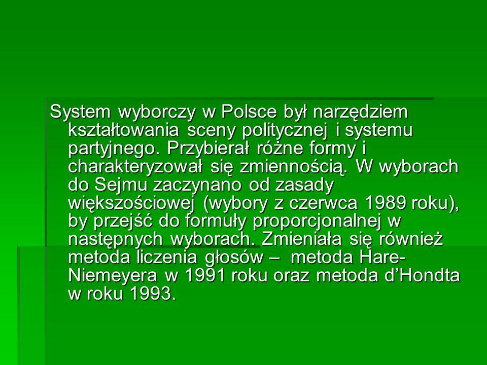 System wyborczy w Polsce był narzędziem kształtowania sceny politycznej i systemu partyjnego. Przybierał różne formy i charakteryzował się zmiennością