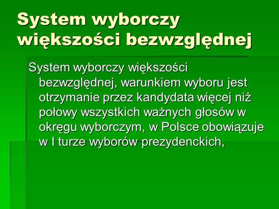 System wyborczy większości bezwzględnej System wyborczy większości bezwzględnej, warunkiem wyboru jest otrzymanie przez kandydata więcej niż połowy ws