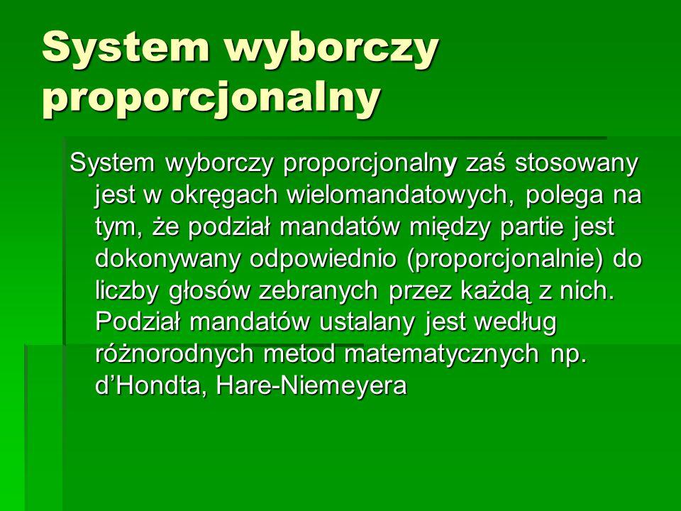 System wyborczy proporcjonalny System wyborczy proporcjonalny zaś stosowany jest w okręgach wielomandatowych, polega na tym, że podział mandatów międz