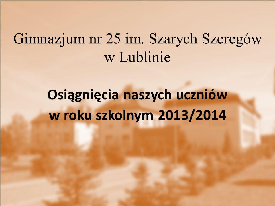 Gimnazjum nr 25 im. Szarych Szeregów w Lublinie Osiągnięcia naszych uczniów w roku szkolnym 2013/2014