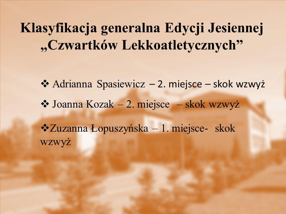   Adrianna Spasiewicz – 2. miejsce – skok wzwyż   Joanna Kozak – 2. miejsce – skok wzwyż  Zuzanna Łopuszyńska – 1. miejsce- skok wzwyż Klasyfikac
