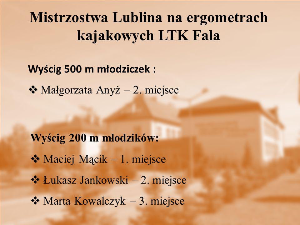 Wyścig 200 m młodzików:   Maciej Mącik – 1. miejsce  Łukasz Jankowski – 2. miejsce  Marta Kowalczyk – 3. miejsce Wyścig 500 m młodziczek :   Mał