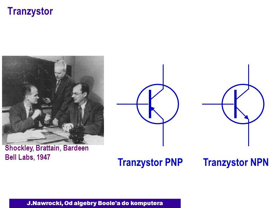J.Nawrocki, Od algebry Boole a do komputera Tranzystor Shockley, Brattain, Bardeen Bell Labs, 1947 Tranzystor PNP Tranzystor NPN