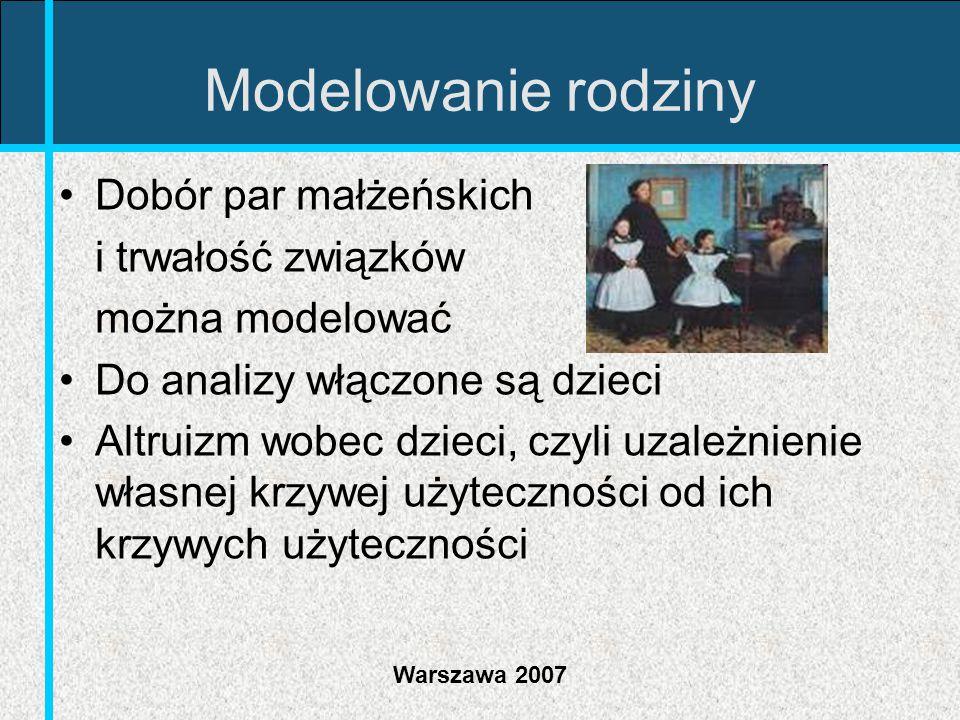 Warszawa 2007 Modelowanie rodziny Dobór par małżeńskich i trwałość związków można modelować Do analizy włączone są dzieci Altruizm wobec dzieci, czyli
