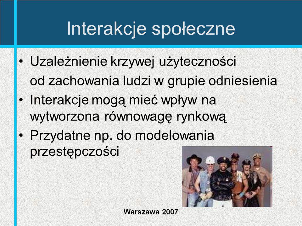 Warszawa 2007 Interakcje społeczne Uzależnienie krzywej użyteczności od zachowania ludzi w grupie odniesienia Interakcje mogą mieć wpływ na wytworzona