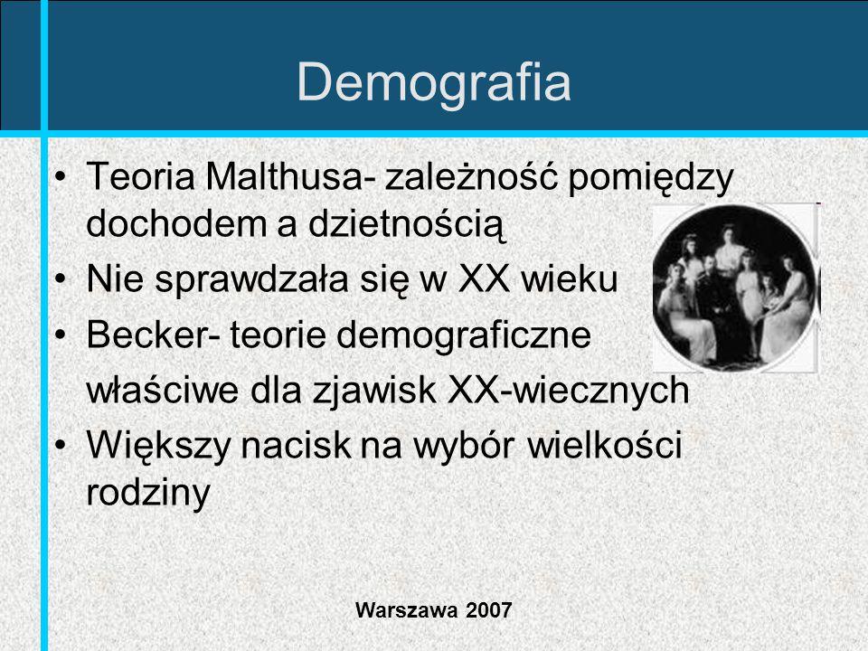 Warszawa 2007 Demografia Teoria Malthusa- zależność pomiędzy dochodem a dzietnością Nie sprawdzała się w XX wieku Becker- teorie demograficzne właściw