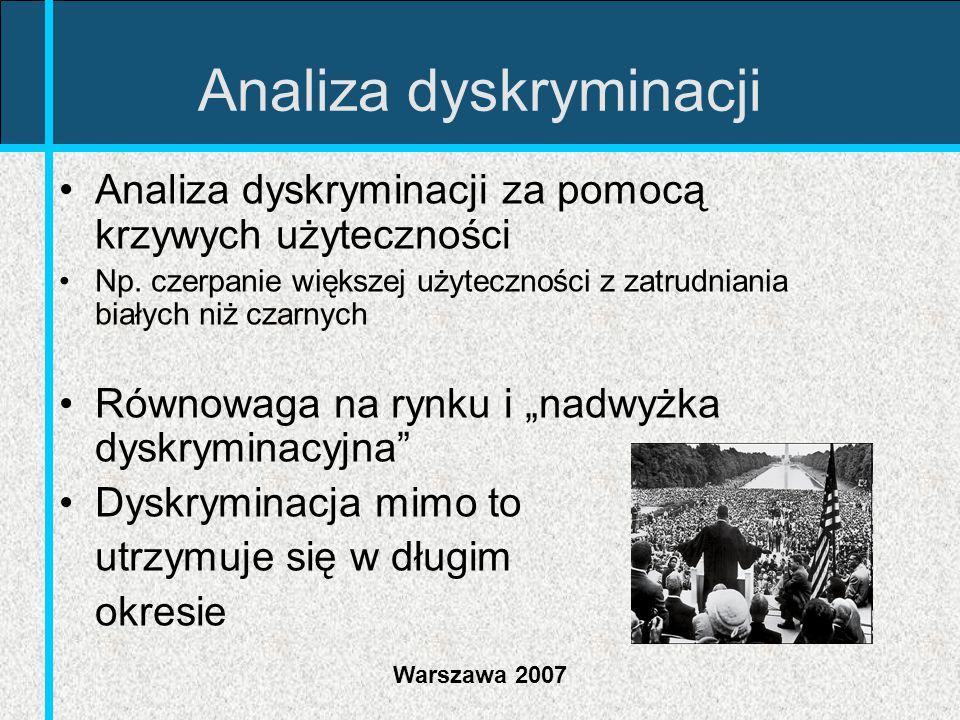 Warszawa 2007 Analiza dyskryminacji Analiza dyskryminacji za pomocą krzywych użyteczności Np. czerpanie większej użyteczności z zatrudniania białych n