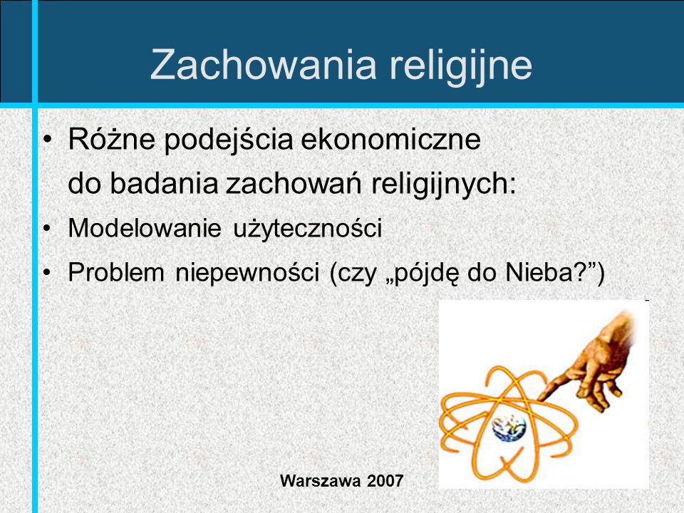 """Warszawa 2007 Zachowania religijne Różne podejścia ekonomiczne do badania zachowań religijnych: Modelowanie użyteczności Problem niepewności (czy """"pój"""