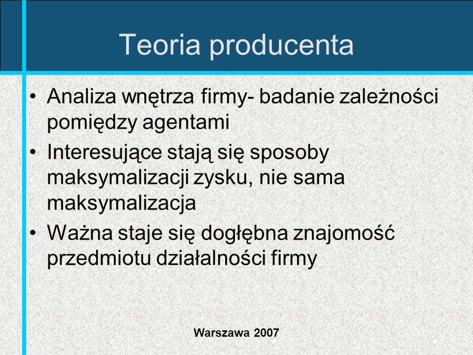 Warszawa 2007 Teoria producenta Analiza wnętrza firmy- badanie zależności pomiędzy agentami Interesujące stają się sposoby maksymalizacji zysku, nie s