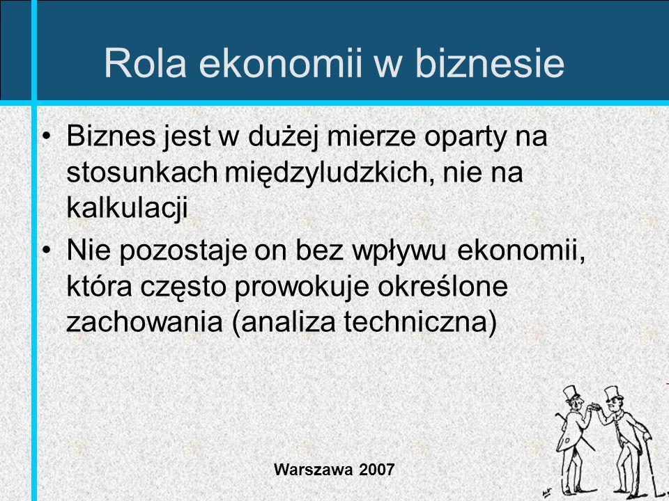 Warszawa 2007 Rola ekonomii w biznesie Biznes jest w dużej mierze oparty na stosunkach międzyludzkich, nie na kalkulacji Nie pozostaje on bez wpływu e