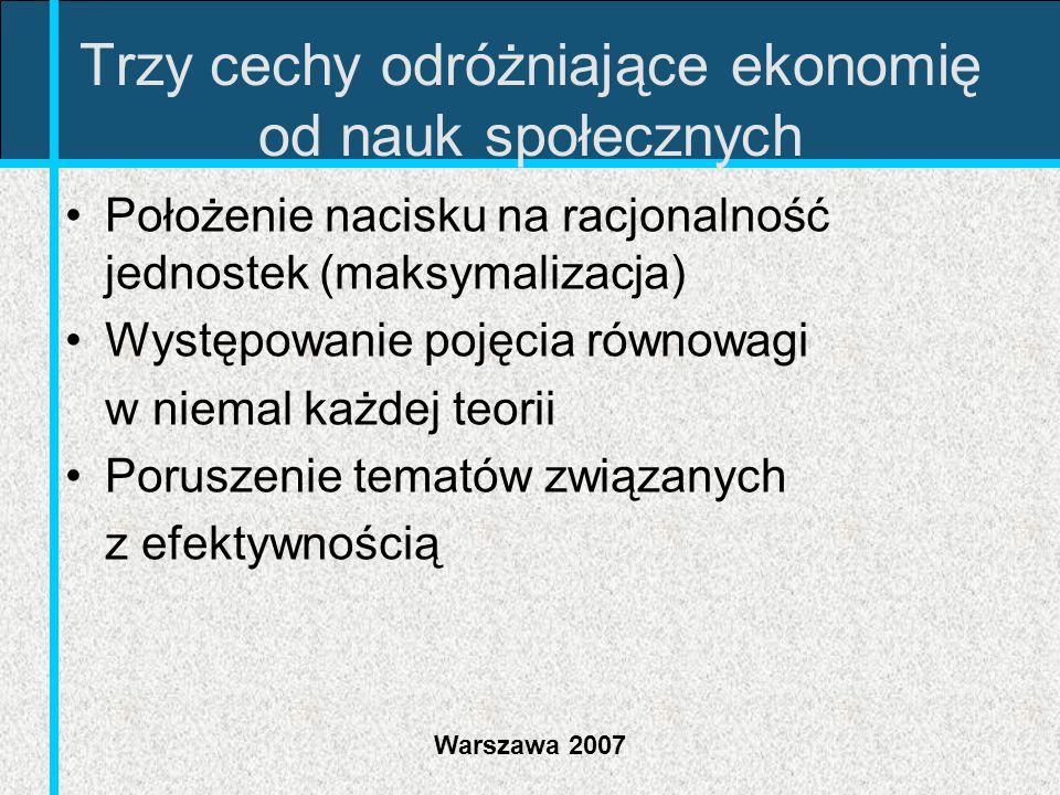 Warszawa 2007 Trzy cechy odróżniające ekonomię od nauk społecznych Położenie nacisku na racjonalność jednostek (maksymalizacja) Występowanie pojęcia r