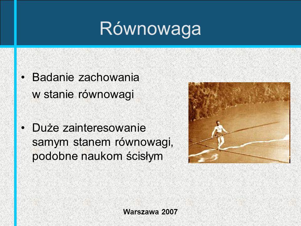 Warszawa 2007 Efektywność Ekonomiści dużo pracy wkładają w poszukiwanie efektywnych rozwiązań Szczególne znaczenie ma założenie, że równowaga konkurencyjna jest efektywna Dążenie jednostek do maksymalizacji ich użyteczności pociąga za sobą rozwiązanie optymalne społecznie