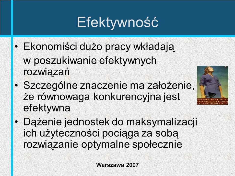 Warszawa 2007 Efektywność Ekonomiści dużo pracy wkładają w poszukiwanie efektywnych rozwiązań Szczególne znaczenie ma założenie, że równowaga konkuren
