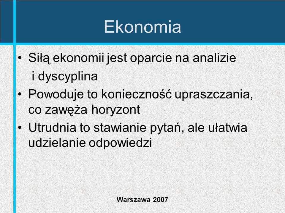 Warszawa 2007 Ekonomia Siłą ekonomii jest oparcie na analizie i dyscyplina Powoduje to konieczność upraszczania, co zawęża horyzont Utrudnia to stawia