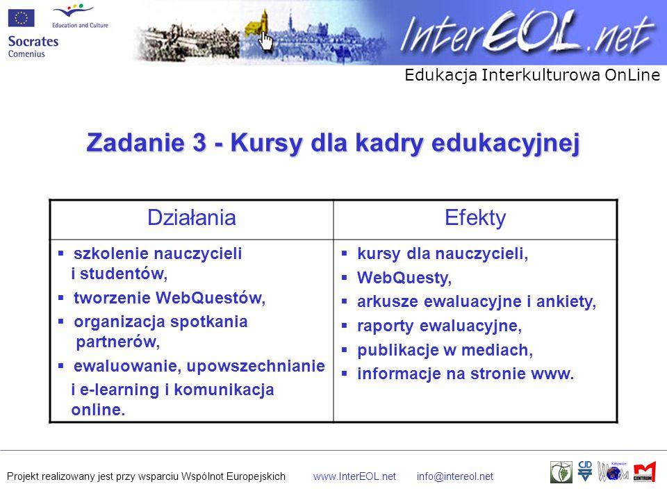 Edukacja Interkulturowa OnLine Projekt realizowany jest przy wsparciu Wspólnot Europejskichwww.InterEOL.netinfo@intereol.net Zadanie 3 - Kursy dla kadry edukacyjnej DziałaniaEfekty  szkolenie nauczycieli i studentów,  tworzenie WebQuestów,  organizacja spotkania partnerów,  ewaluowanie, upowszechnianie i e-learning i komunikacja online.