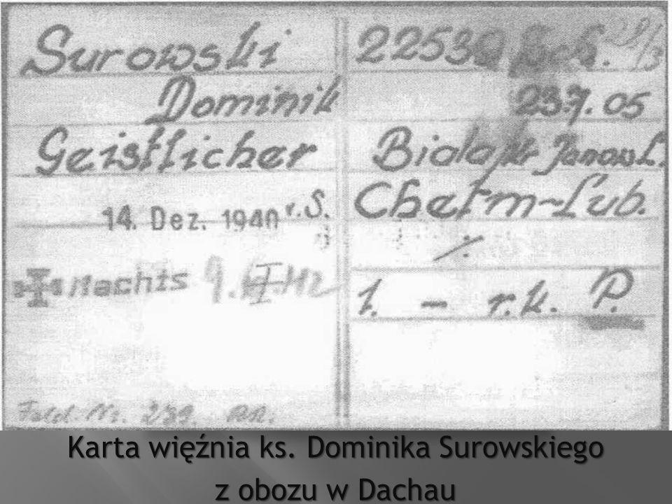 Karta więźnia ks. Dominika Surowskiego z obozu w Dachau
