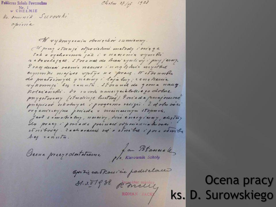 Ocena pracy ks. D. Surowskiego