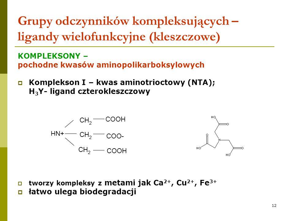 12 Grupy odczynników kompleksujących – ligandy wielofunkcyjne (kleszczowe) KOMPLEKSONY – pochodne kwasów aminopolikarboksylowych  Komplekson I – kwas
