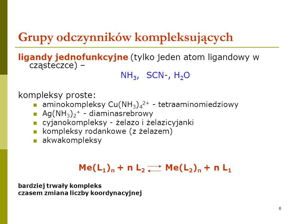 9 Grupy odczynników kompleksujących ligandy wielofunkcyjne  ligandy wielokleszczowe atomy ligandowe + grupy kwasowe trwalsze niż proste, większa zmiana entropii  chelat - w cząsteczce ligandu atomy ligandowe i grupy kwasowe są tak usytuowane, że tworzą trwały pierścień (5, 6 atomów) chelaty elektroujemne i elektrododatnie służą do maskowania  chelat wewnętrzny – kompleks elektrycznie obojętny (ze skompensowanym ładunkiem)