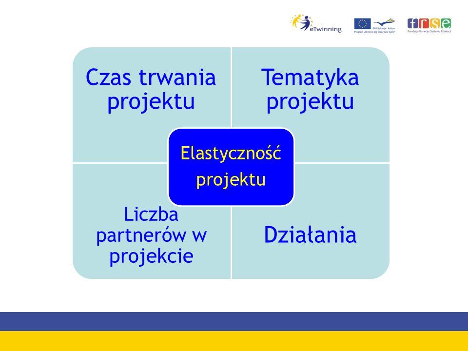 Czas trwania projektu Tematyka projektu Liczba partnerów w projekcie Działania Elastyczność projektu