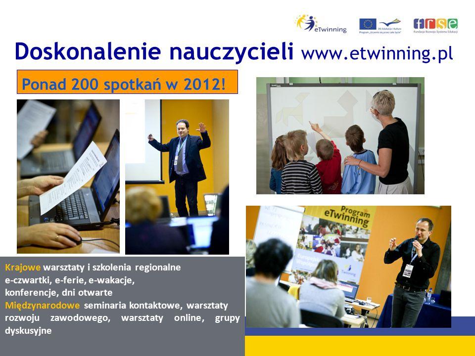 Doskonalenie nauczycieli www.etwinning.pl Ponad 200 spotkań w 2012.