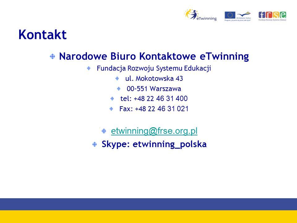 Kontakt Narodowe Biuro Kontaktowe eTwinning Fundacja Rozwoju Systemu Edukacji ul.