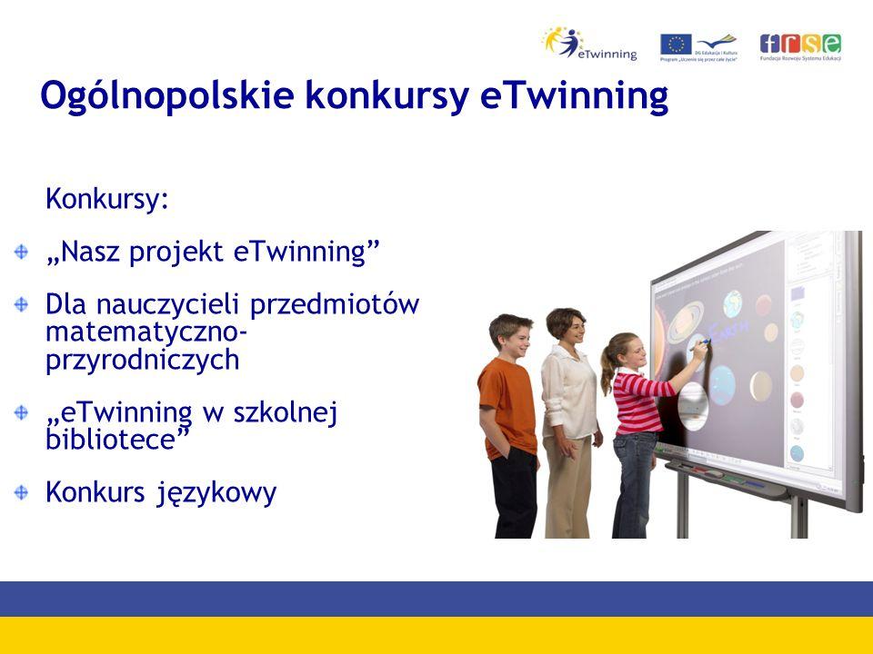 """Ogólnopolskie konkursy eTwinning Konkursy: """"Nasz projekt eTwinning Dla nauczycieli przedmiotów matematyczno- przyrodniczych """"eTwinning w szkolnej bibliotece Konkurs językowy"""