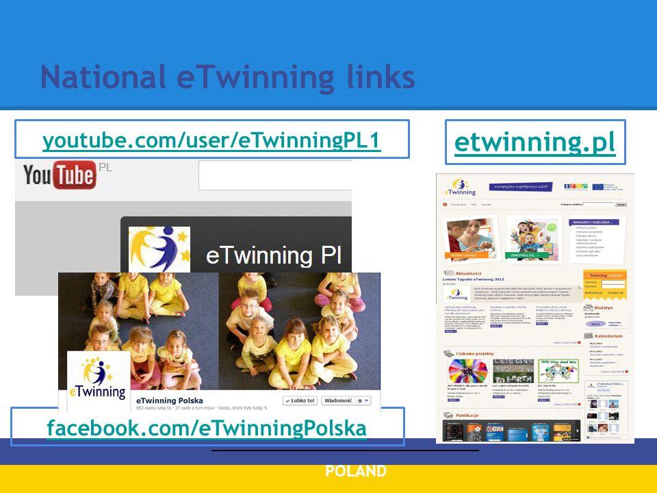 National eTwinning links facebook.com/eTwinningPolska POLAND youtube.com/user/eTwinningPL1 etwinning.pl