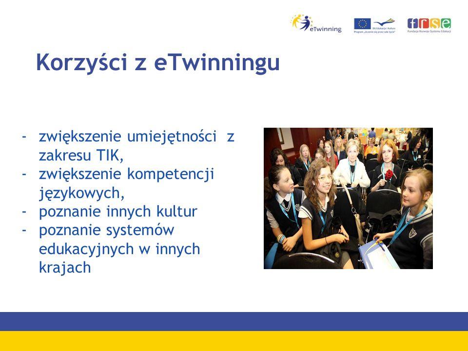 Korzyści z eTwinningu -zwiększenie umiejętności z zakresu TIK, -zwiększenie kompetencji językowych, -poznanie innych kultur -poznanie systemów edukacyjnych w innych krajach