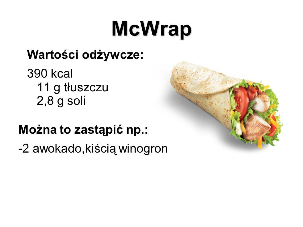 Big Mac Wartości odżywcze: 495 kcal 25 g tłuszczu 2,3 g soli Można to zastąpić np.: -2 kukurydzami, 2 porami, 100 g pomidorków koktajlowych, 1 czosnkiem, 250 g zielonej fasolki