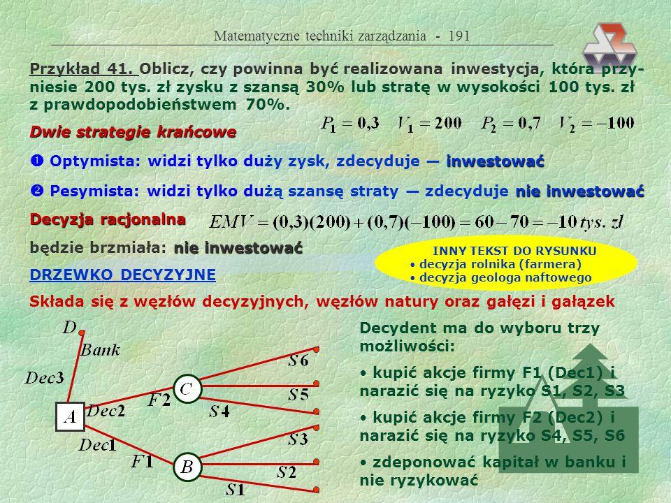 Matematyczne techniki zarządzania - 190 Dane  prawdopodobieństwa P i : dane historyczne analizy statystyczne teoria danego zjawiska  efekty finansowe V i : analizy ekonomiczne scenariusze rachunek dyskontowy (NPV) Metody rozwiązywania teoria decyzji drzewko decyzyjne (dendryt) rachunek bayesowski teoria gier analiza wrażliwości analiza wielowariantowa TEORIA DECYZJI maksymalizacji wartoś- ci oczekiwanej efektu finansowego EMV Posługuje się kryterium decyzyjnym opartym na maksymalizacji wartoś- ci oczekiwanej efektu finansowego EMV (Expected Monetary Value)  jeżeli EMV>0, przedsięwzięcie jest opłacalne spośród wielu opłacalnych przedsięwzięć wybieramy to, które ma naj- większą wartość EMV jeżeli EMV<0, przedsięwzięcie jest nieopłacalne i nie powinno być reali- zowane Uwaga.