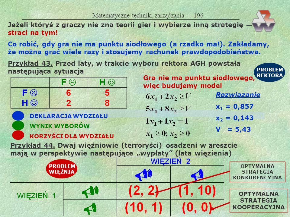 Matematyczne techniki zarządzania - 195 Metody rozwiązywania punkt siodłowy metoda minimaksu (maksyminu), gdy gra ma punkt siodłowy programowanie liniowe, gdy gra nie ma punktu siodłowego Wyniki wartość gry optymalna strategia gracza A optymalna strategia gracza B Dwa rodzaje rozwiązań AB zdeterminowane: A (0,0,1), B (0,1,0) gdy gra ma punkt siodłowy A B zrandomizowane: A (0,15;0,85), B (0,42; 0,58) gdy gra nie ma punktu siodłowego Gra ma punkt siodłowy, gdy każdy z graczy potrafi określić swą optymalną strategię i będzie ją stosował niezależnie od tego, co zrobi drugi gracz, oraz gdy max min = min max.