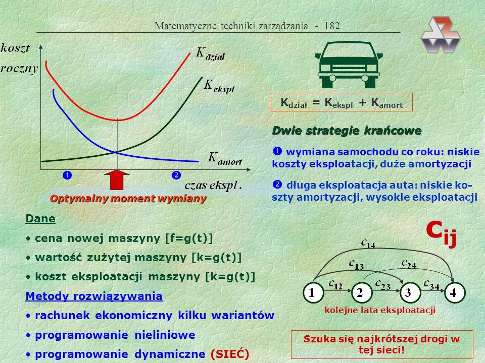 Matematyczne techniki zarządzania - 181 Metody rozwiązywania obu problemów rachunek ekonomiczny kilku wariantów programowanie nieliniowe programowanie