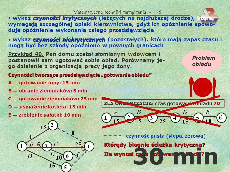 Matematyczne techniki zarządzania - 184 Metody rozwiązywania zbudowanie sieci (trudne przy wielu czynnościach) najdłuższej drogi najkrótszy możliwy cz