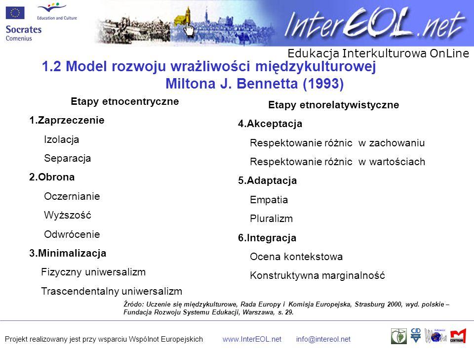 Edukacja Interkulturowa OnLine Projekt realizowany jest przy wsparciu Wspólnot Europejskichwww.InterEOL.netinfo@intereol.net Etapy etnocentryczne 1.Za