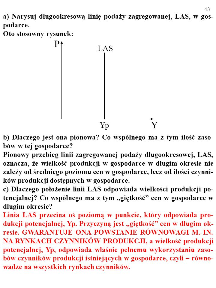 42 a) Narysuj długookresową linię podaży zagregowanej, LAS, w gos- podarce.